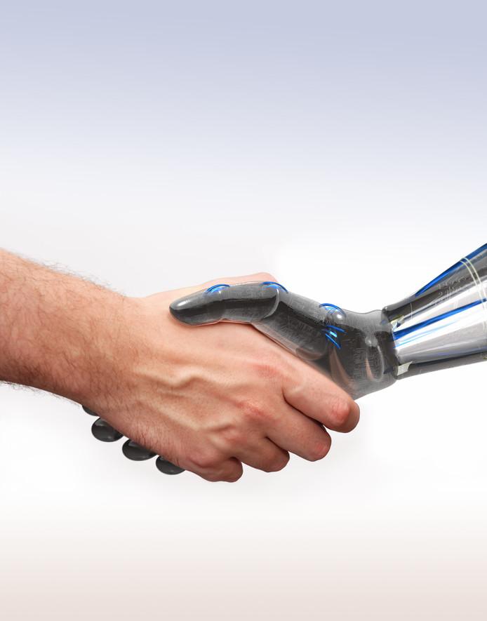 Beel dat door MindLabs wordt gebruikt om aan te geven waar het voor staat: het samengaan van interactieve technologie en menselijk gedrag.