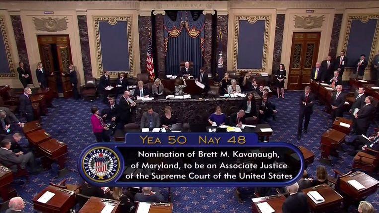 De Amerikaanse Senaat bij de stemming over rechter Brett Kavanaugh.