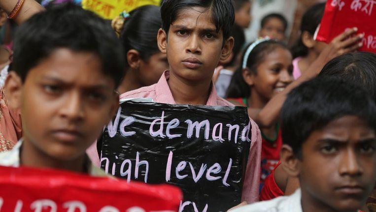 Demonstratie naar aanleiding van de vergiftigde leerlingen op de school in India Beeld ANP