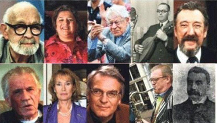 Vlnr boven: Alexander Pola, Annet Malherbe, Drs. P., Moestafa en Albert Mol. Vlnr onder: Gerard Reve, Annemarie Oster, Herman Pley, Clous van Mechelen en Justus van Maurik. Beeld