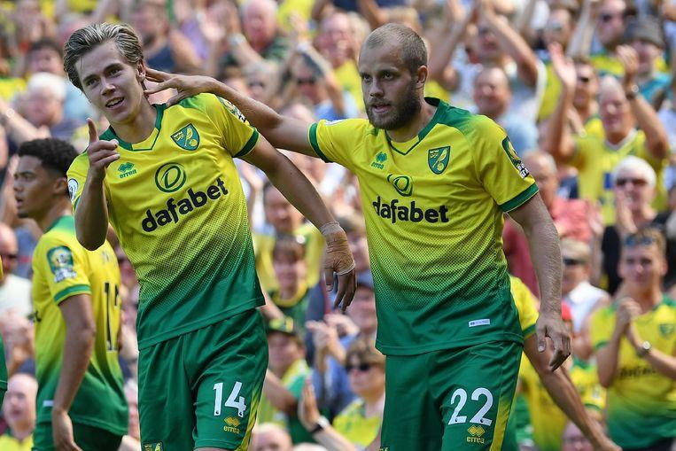 Cantwell en Pukki (r), de doelpuntenmakers van Norwich.