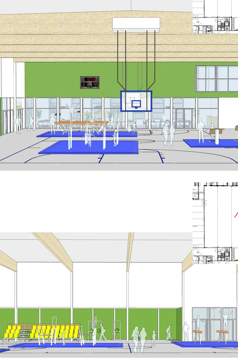 De gemeente participeert in de bouw van de sporthal in Huise. Hier een toekomstbeeld.
