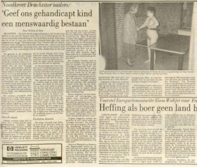 Het artikel over Jolanda Venema in de Leeuwarder Courant. Beeld -
