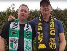 Aartsrivalen VVOG en DVS'33 eendrachtig zingend de derby tegemoet