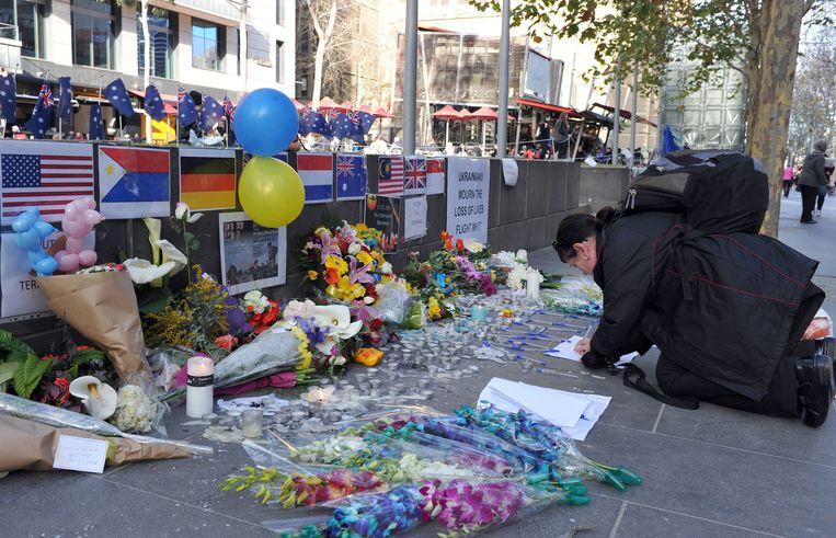 Een monument in de Australische stad Melbourne voor alle slachtoffers van de ramp met de MH17. Beeld afp
