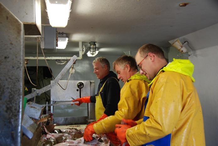 De gevangen vis wordt aan boord meteen schoongemaakt.