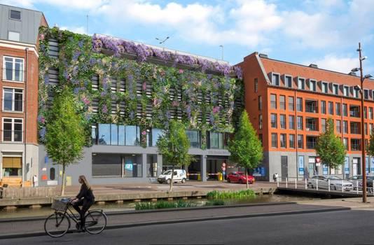 Een impressie van de gevel van de parkeergarage De Barones in Breda. Zo zou de gevel van het stadskantoor er ook uit moeten zien.