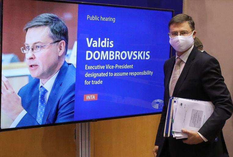 Valdis Dombrovskis in Brussel. Beeld Reuters