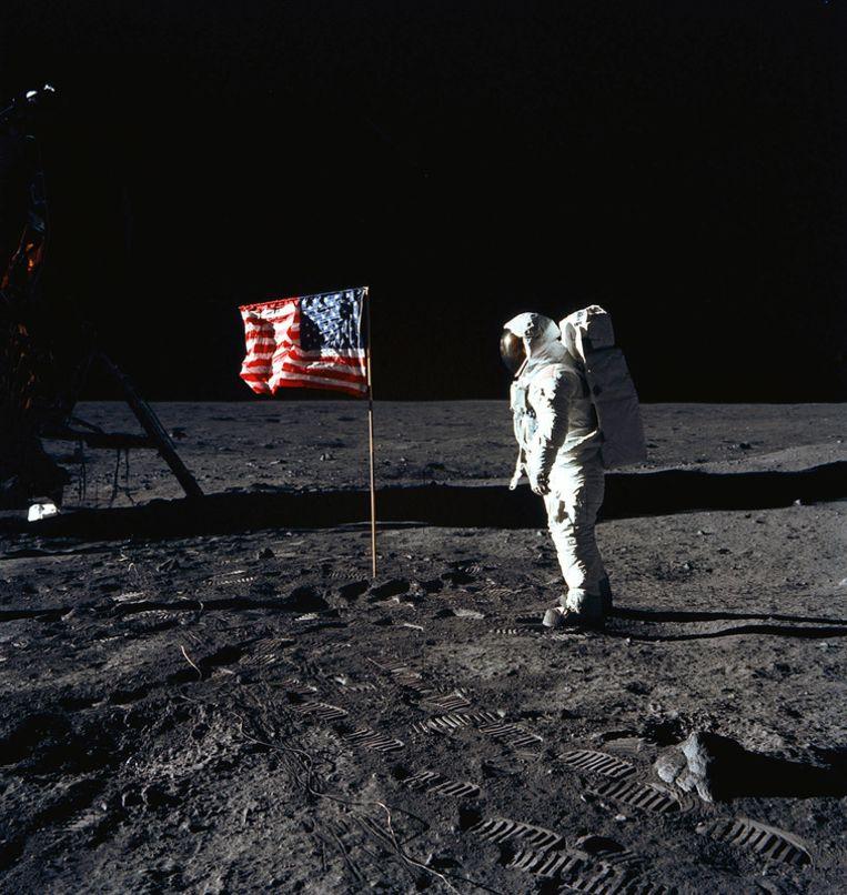 Edwin E. Aldrin, Jr loopt in 1969 op de maan. © AFP Beeld