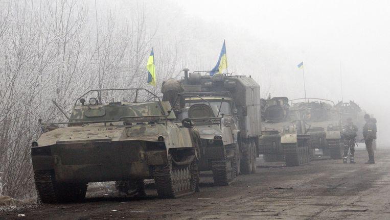 Oekraïense troepen in frontstad Debaltseve.