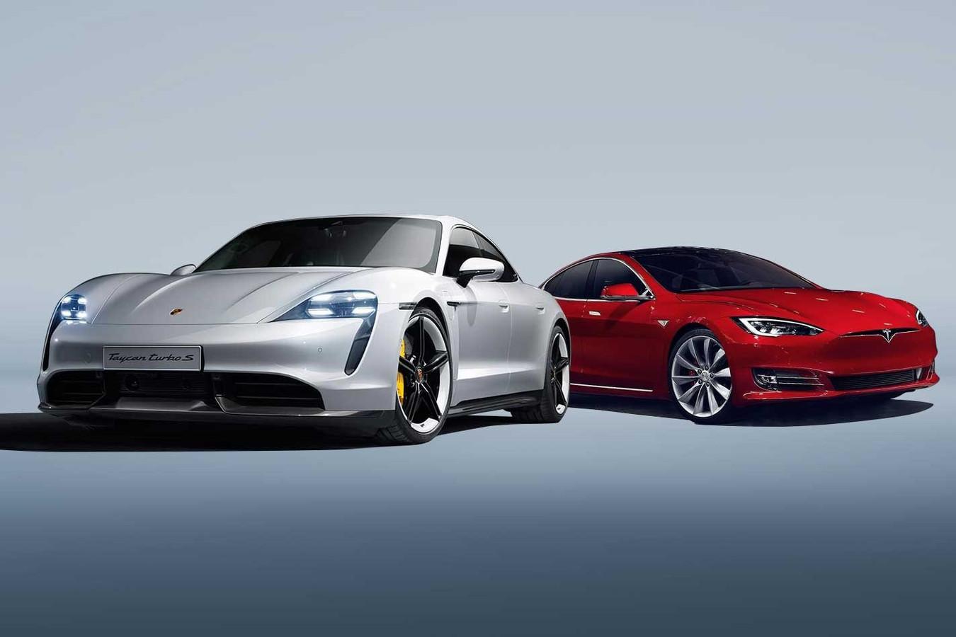 Porsche Taycan versus Tesla Model S.