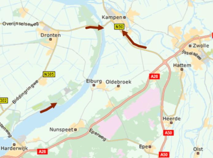 Het ongeluk leidde tot een file op de N50 bij Kampen. Dit was de situatie om 13.30 uur.