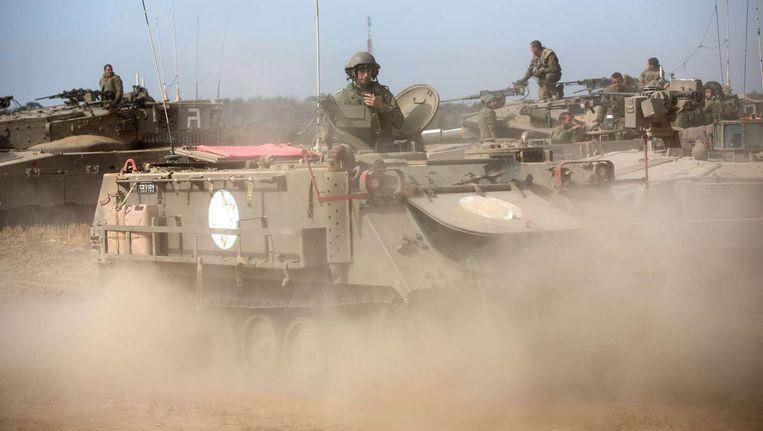 Israëlische soldaten tijdens een militaire oefening gisteren.