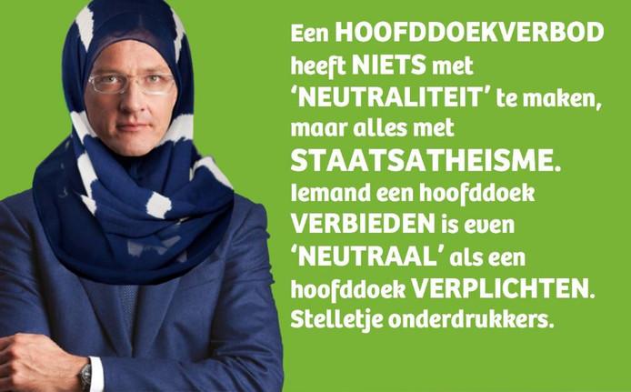 Wethouder Joost Eerdmans met hoofddoek.