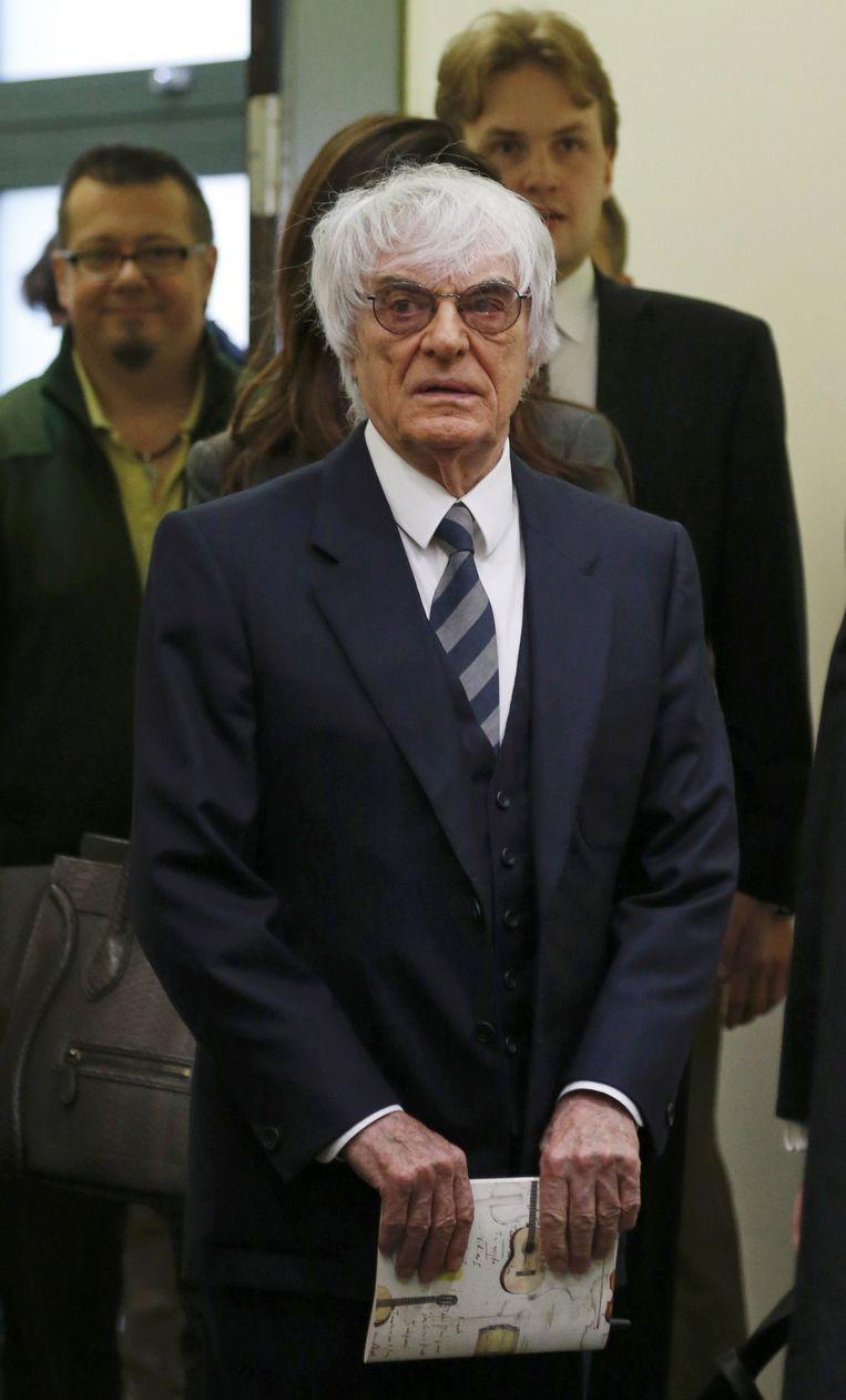 F1-baas Bernie Ecclestone, vandaag in de rechtbank.