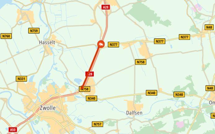 De file bij Zwolle ten gevolge van een ongeluk.