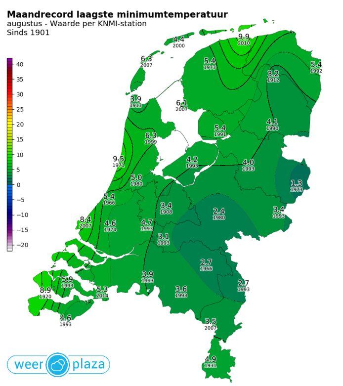 Recordkaart temperaturen augustus.