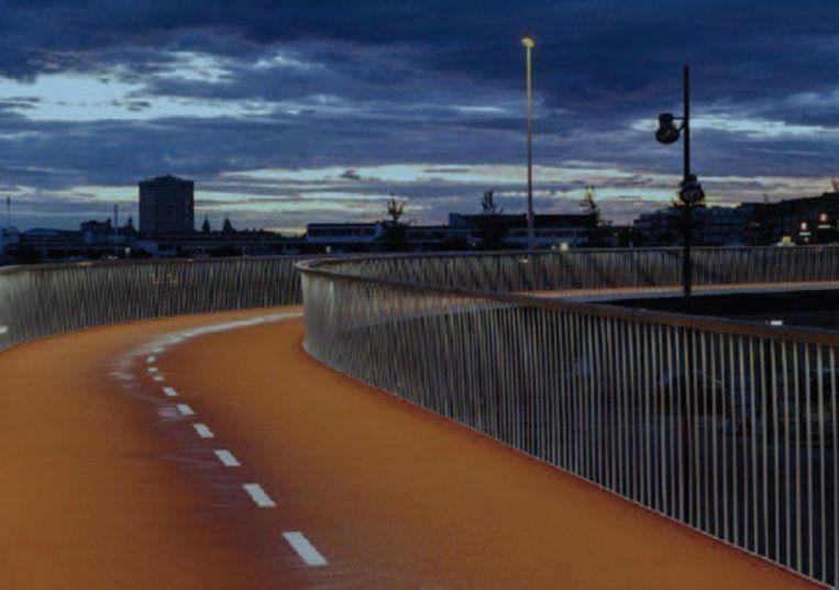 De nieuwe fietsbrug zorgt voor een verbinding tussen Kiewit-Heide en de binnenstad.