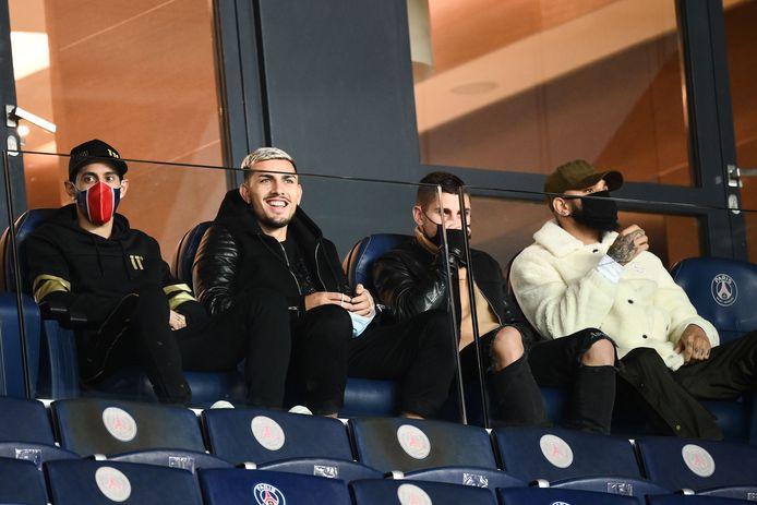 Ook Paredes (tweede van links) en Verratti (derde van links) ontbreken bij PSG.