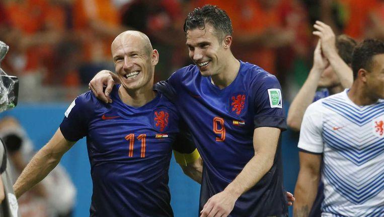 Arjen Robben en Robin van Persie afgelopen vrijdag na de winst tegen Spanje. Beeld anp