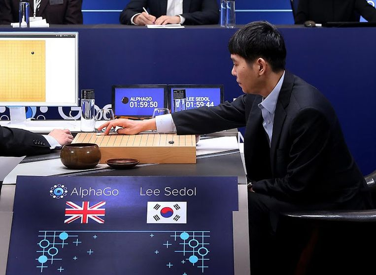 Lee Sedol in actie tegen AlphaGo Beeld anp