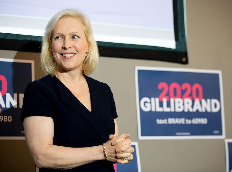 De Democraat Kirsten Gillibrand bij een campagnebijeenkomst in New Hampshire, afgelopen vrijdag. Beeld EPA