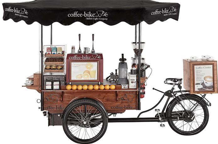 De gestolen coffee-bike, of een vergelijkbaar model,  zoals die vorige week in Enschede werd aangetroffen op een aanhanger.