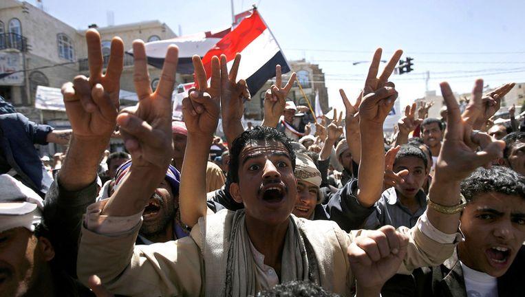Demonstraties in Sanaa, gisteren. Beeld bruno