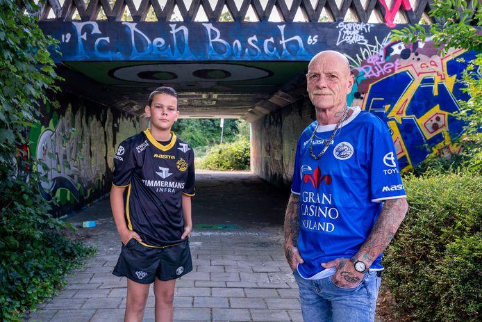Joop Meulenberg met kleinzoon Dylano. Foto is gemaakt bij de oude toegangstunnel naar het stadion.