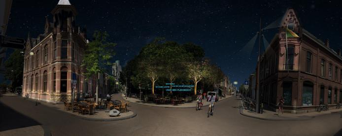 Panorama van de Vijfsprong: door met licht en donker te spelen krijgt het gebied meer karakter. Spaarbank wordt dan mooi uitgelicht. Eventueel is er plaats voor een plekgedicht in het parkje.