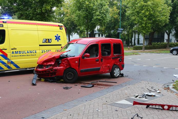 De rode is na het ongeluk omgetold.