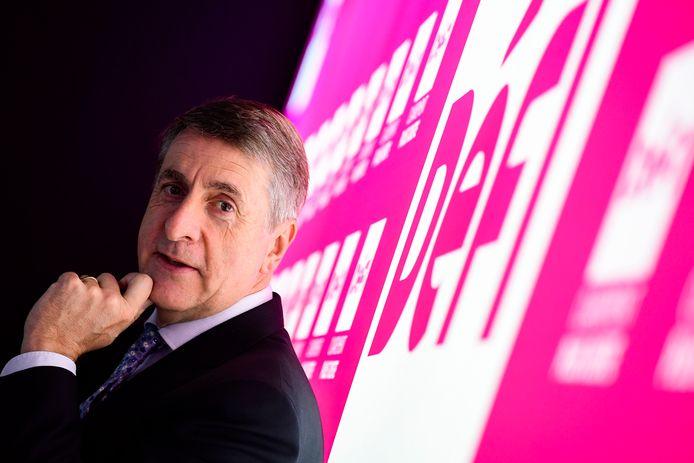 Olivier Maingain lors du lancement de la campagne de DéFI pour les élections législatives, le 29 mars 2019 à Bruxelles.