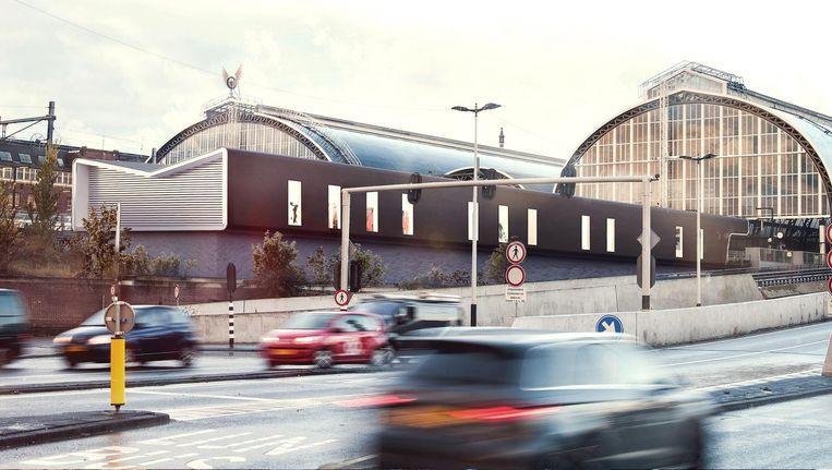 een impressie van de nieuwe Eurostarterminal vanaf de Piet Heinkade, op de plek waar nu nog een bouwkeet staat Beeld BenthemCrouwel architecten