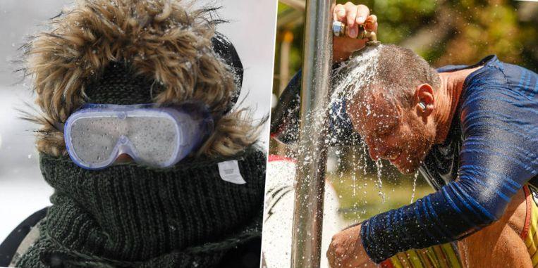 Een duikbril om zich te beschermen tegen de striemende ijskoude wind. Dat hebben ze in Australië de dag van vandaag alleen maar nodig om verkoeling te zoeken, in temperaturen van meer dan 40 graden.