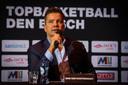 Bob van Oosterhout, eigenaar van Triple Double, bij zijn presentatie als eigenaar van basketbalclub New Heroes Den Bosch.