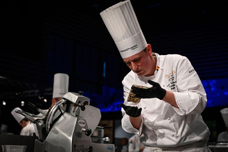 Lode De Roover in opperste concentratie tijdens de finale van Bocuse d'Or.