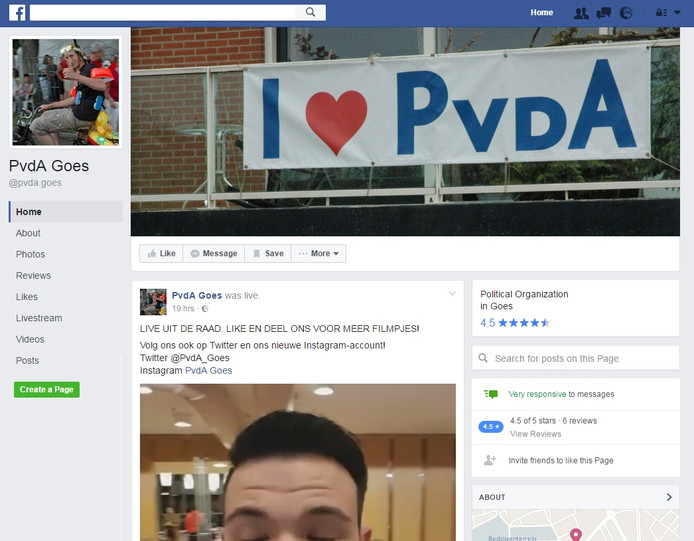 De Facebook-pagina van de PvdA in Goes.