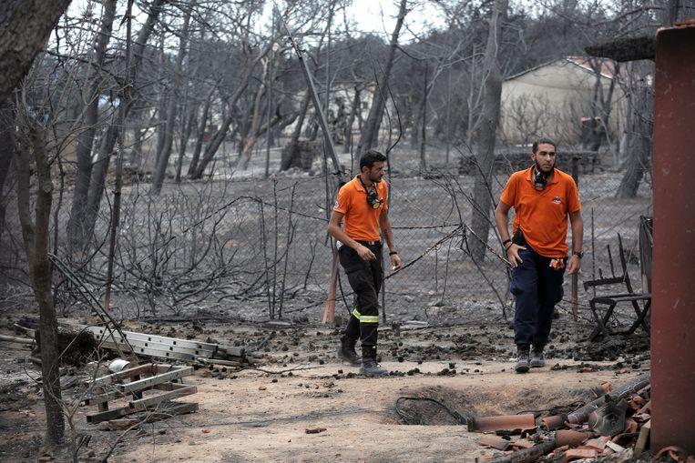Hulpverleners zoeken naar vermisten in de verwoeste gebieden.