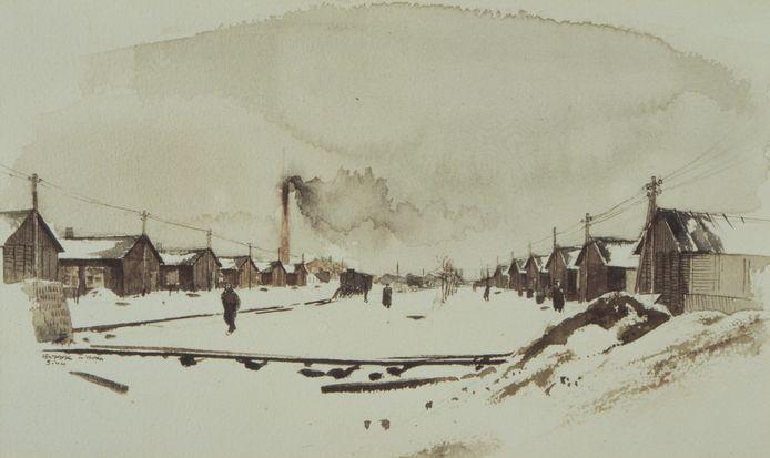 Een winterlandschap van Kamp Westerbork, getekend door Leo Kok.