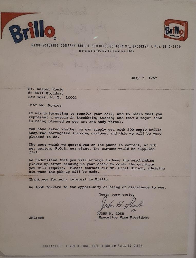 Brief van de firma Brillo aan het Moderne Museet over de levering van Brillo-dozen voor expositie Andy Warhol. Beeld Moderna Museet Stockholm