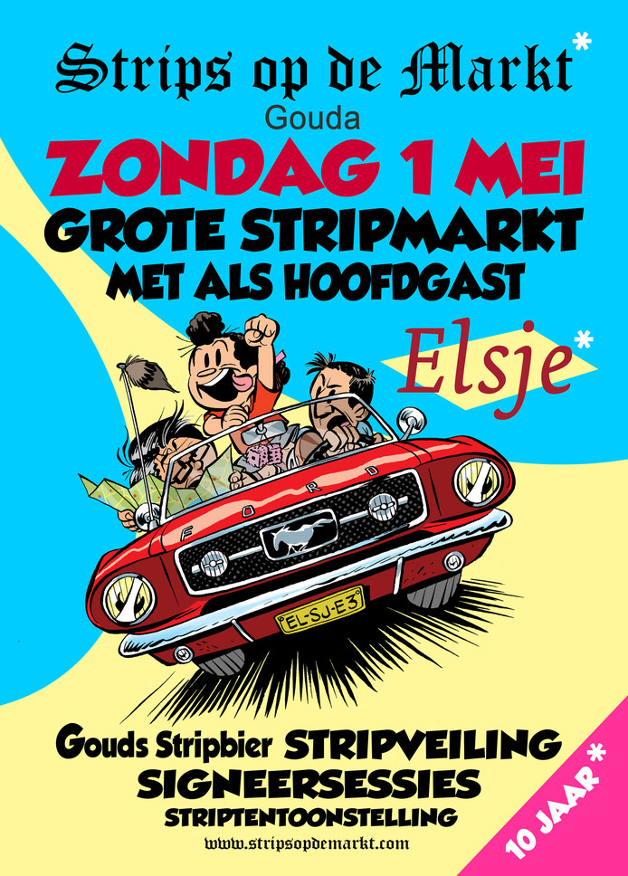 De nieuwe poster voor Strips op de Markt, met een hoofdrol voor Elsje.
