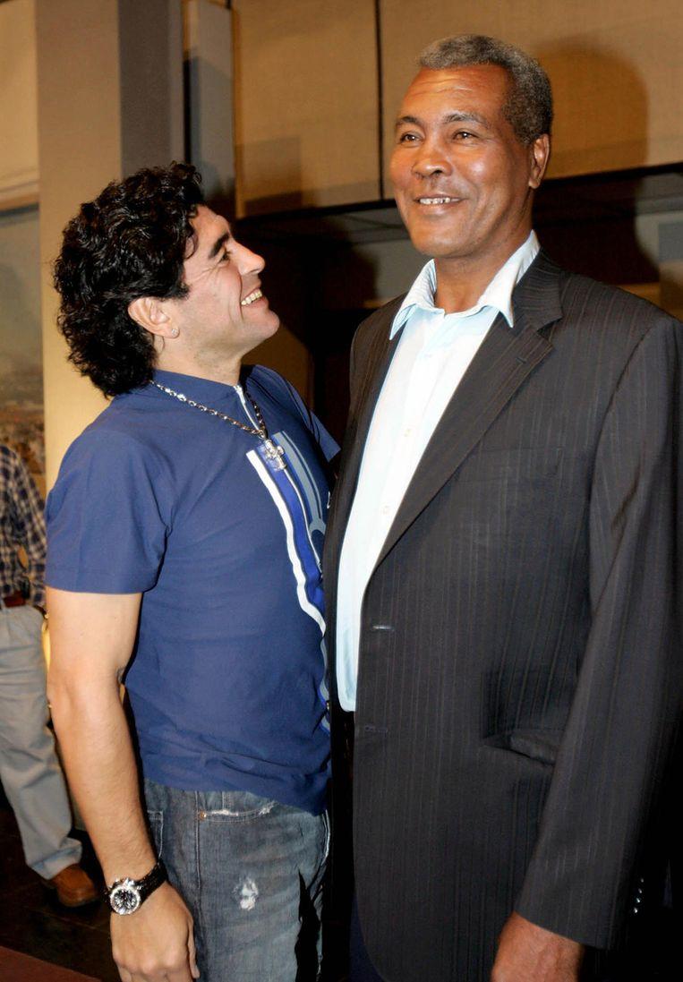 Met voetballer Diego Maradona in 2005. Beeld afp