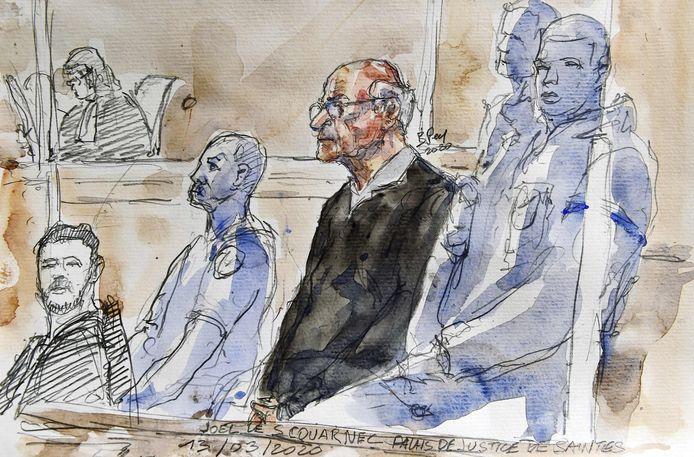 Een rechtbanktekening van de  gepensioneerde chirurg Joel Le Scouarnec (70).