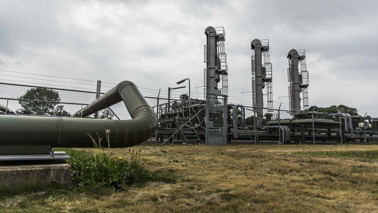 De pompinstallatie van de Nederlandse Aardolie Maatschappij in Schoonebeek waar olie wordt gewonnen. Beeld anp