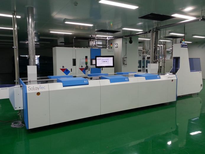 Een machine van Solaytec, zoals ze in zonnecelfabrieken in China worden gebruikt.