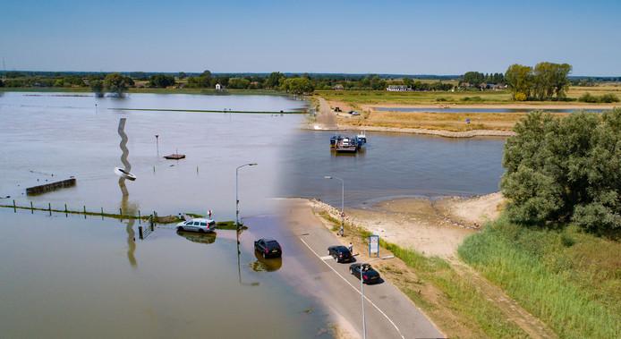 Afgelopen winter kon het veer bij Olst bijna niet varen vanwege het hoog water, nu zorgen de extreem lage waterstand in de IJssel op veel plekken voor problemen.