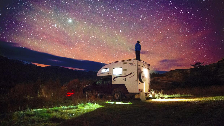 De sterrenhemel aan de Carretera Austral (Zuidelijke Weg) in Chili.
