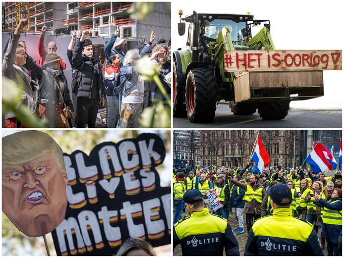 Demonstraties van Viruswaanzin, Farmers Defence Force, Black Lives Matter en de Gele Hesjes.