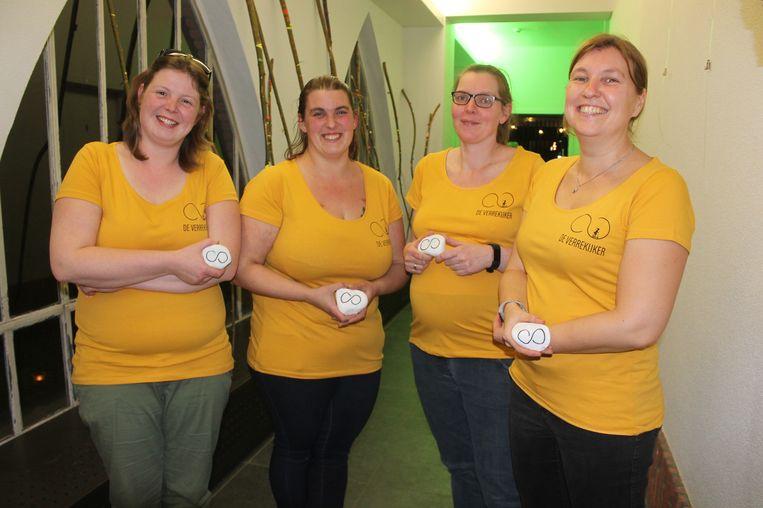 De initiatiefneemsters van het nieuwe schoolproject De Verrekijker: Vanessa Heymans, Dorien Luchtens, Annelies Van Driessche en Liesbeth Wauters