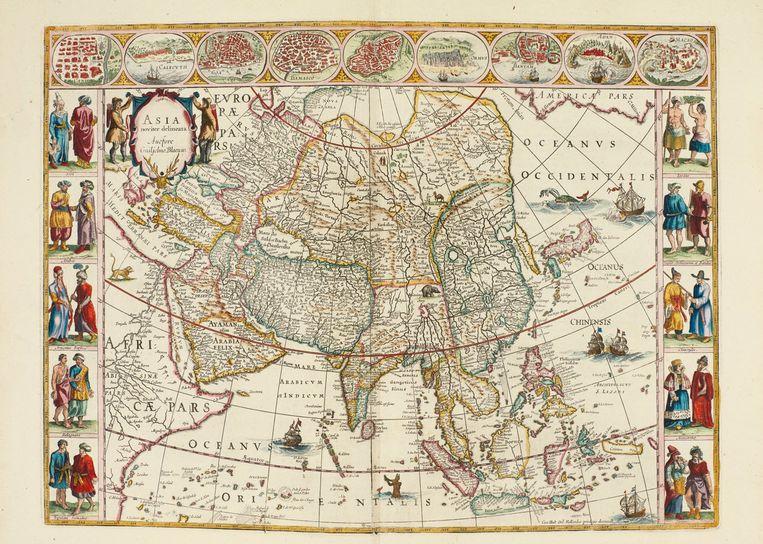 Een met de hand getekende kaart van Azië in de atlas van Blaeu. Beeld Sotheby's